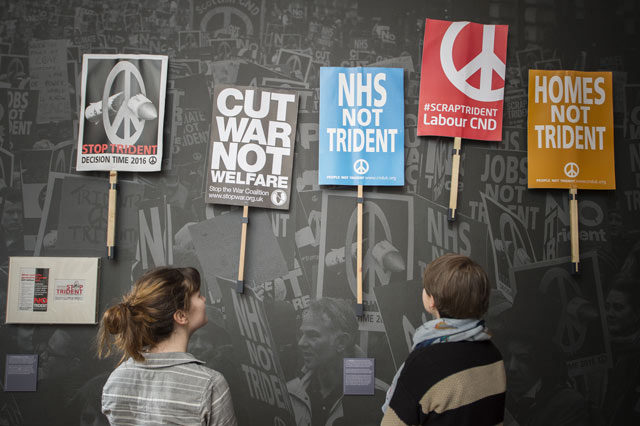 Anti-Trident placards in People Power: Fighting for Peace, an exhibition at IWM London open until 28 August