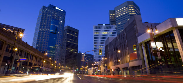 Portage Avenue, a main artery of Winnipeg,