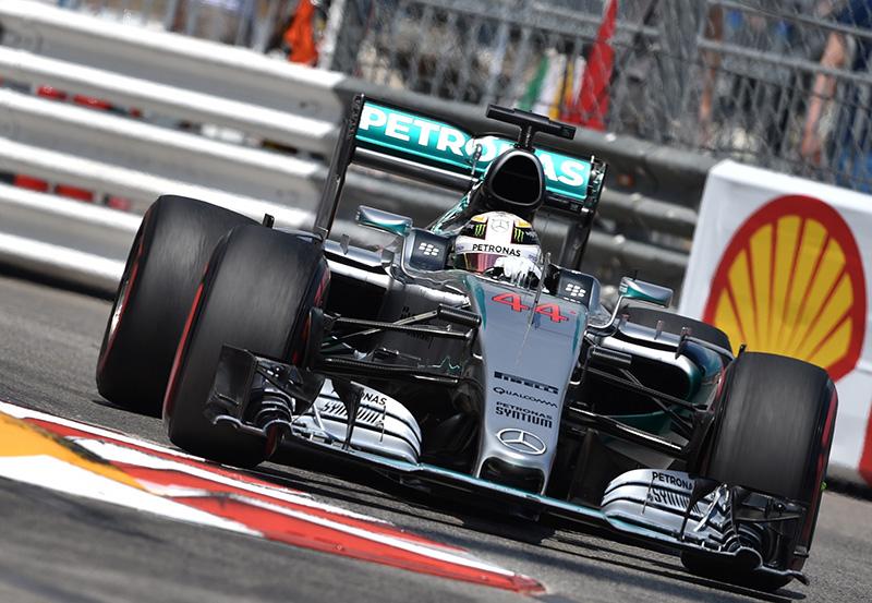 Lewis Hamilton drives at the 2015 Monaco F1 Grand Prix.