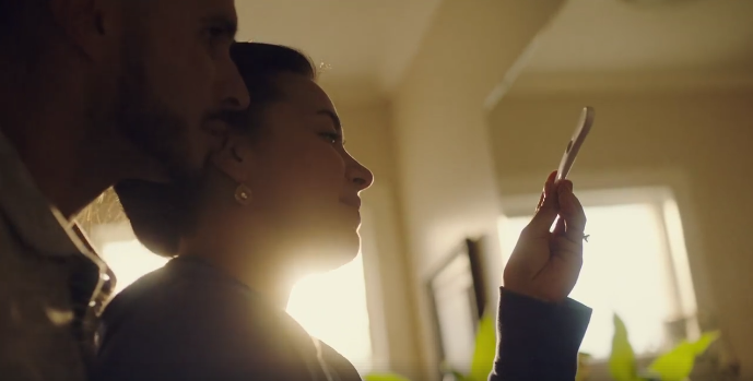 A scene from American Greetings' recent ad, 'Not Alone,' which depicts a couple's struggle with fertility....