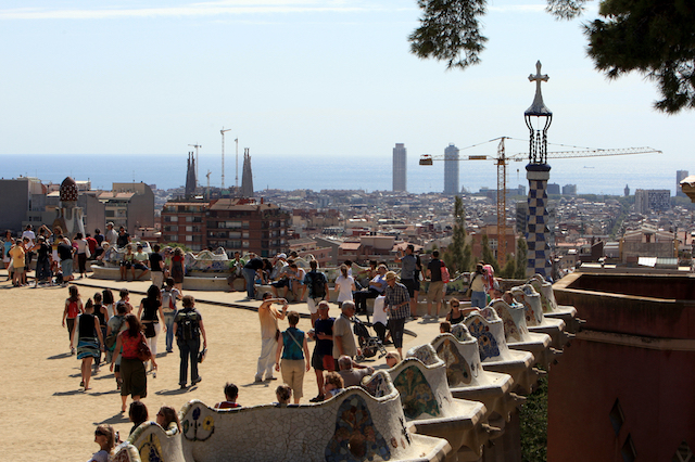 The Gran Placa Circular bordered by the serpentine bench at Park Guell, Barcelona