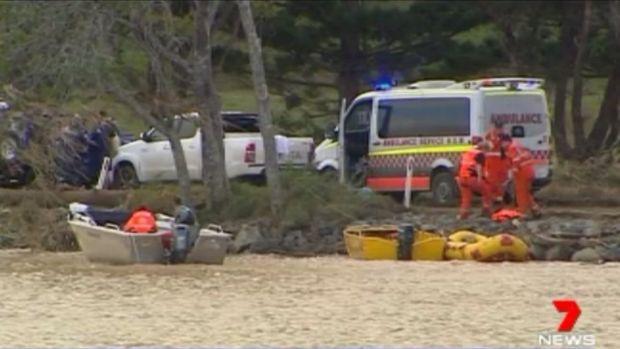 Rescuers found the car using sonar equipment in their