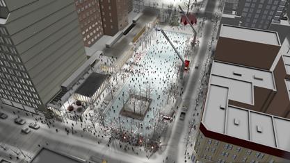 La future esplanade Clark constitue la dernière phase du réaménagement du Quartier des