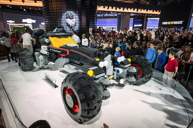 A life-size LEGO® Batmobile is unveiled in the Chevrolet exhibit Saturday, January 14, 2017 on opening day of the North American International Auto Show in Detroit, Michigan. The 17-foot long vehicle was inspired by Batmans Speedwagon featured in The LEGO® Batman Movie, which hits U.S. theaters on Feb. 10. (Photo by Steve Fecht for Chevrolet)