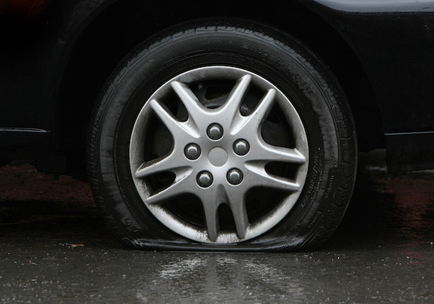 A Stock picture of a flat tire in Dublin city centre.  Picture date:Friday January 30th, 2009. PRESS ASSOCIATION Photo. Offcial figures released today show car sales in the Republic of Ireland  have dropped by a fifth.   See PA Story TRANSPORT Cars.  Photo credit should read: Niall Carson/PA Wire.