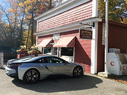2015 BMW i8 parked in front of Good Hart General Store