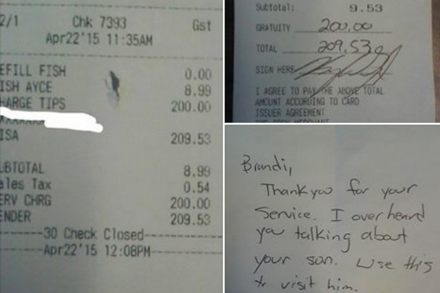 Customer Leaves Surprise Tip So Waitress Can Visit Her Son Aol