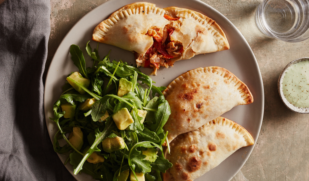 Amazing chicken empanadas and easy dessert make the perfect weeknight meal