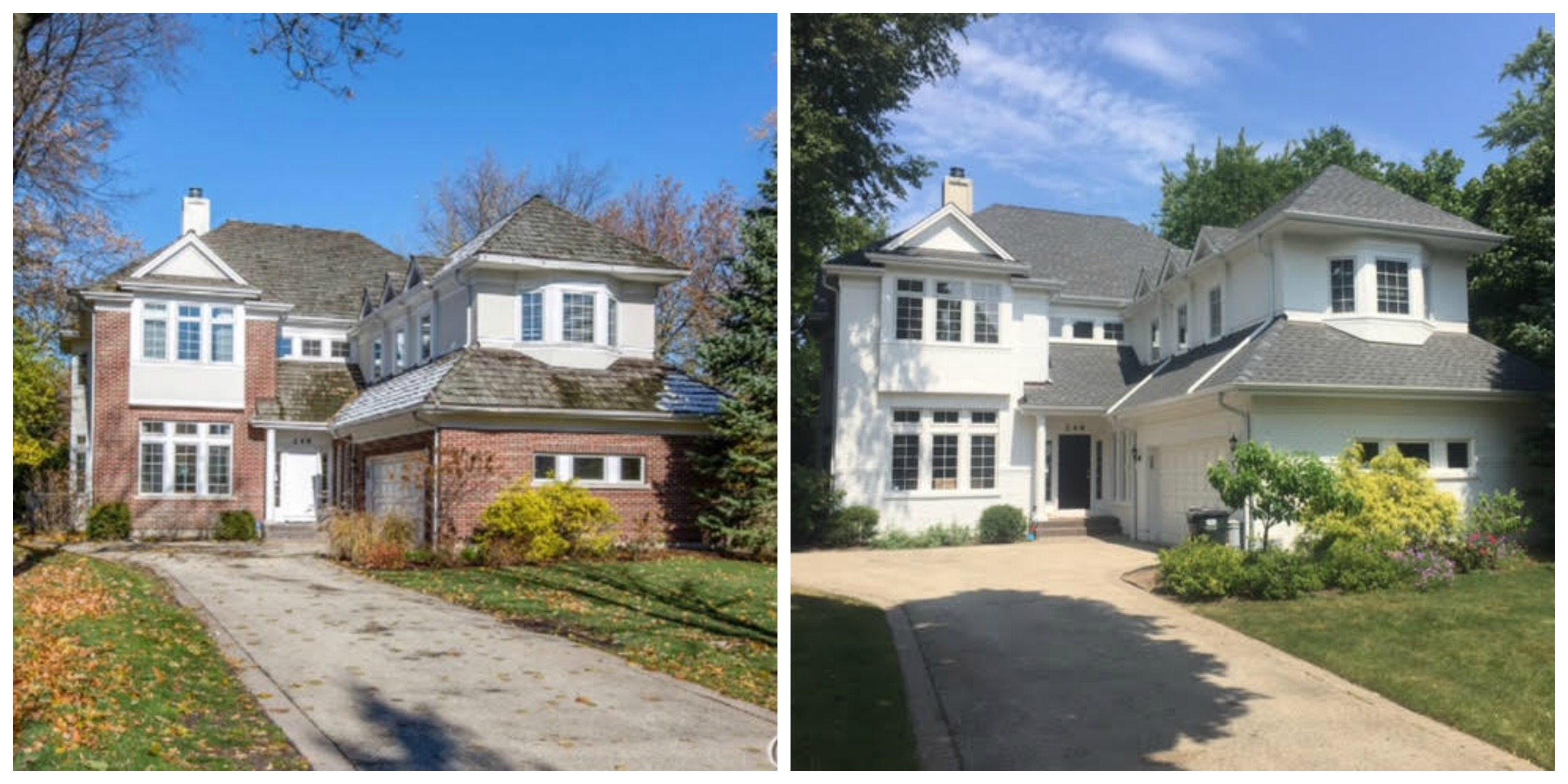 before and after photos of exterior brick paint on house