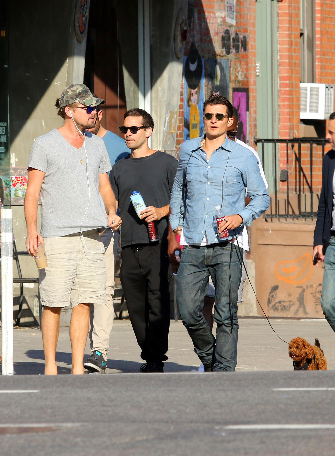 Leonardo DiCaprio, Tobey Maguire and Orlando Bloom meet up and hang out as they went for a long walk with friends after having a late afternoon lunch and stopping for ice cream in Manhattan's East Village Neighborhood. 14 Jun 2017 Pictured: Leonardo DiCaprio, Tobey Maguire and Orlando Bloom. Photo credit: LRNYC / MEGA TheMegaAgency.com +1 888 505 6342 (Mega Agency TagID: MEGA42466_002.jpg) [Photo via Mega Agency]