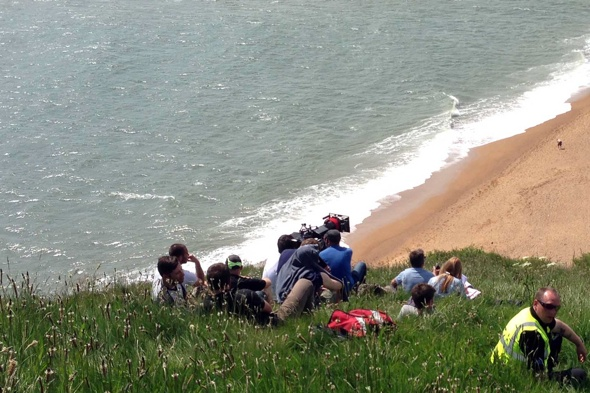 Broadchurch film crew shoot scenes on 'unstable' cliff face