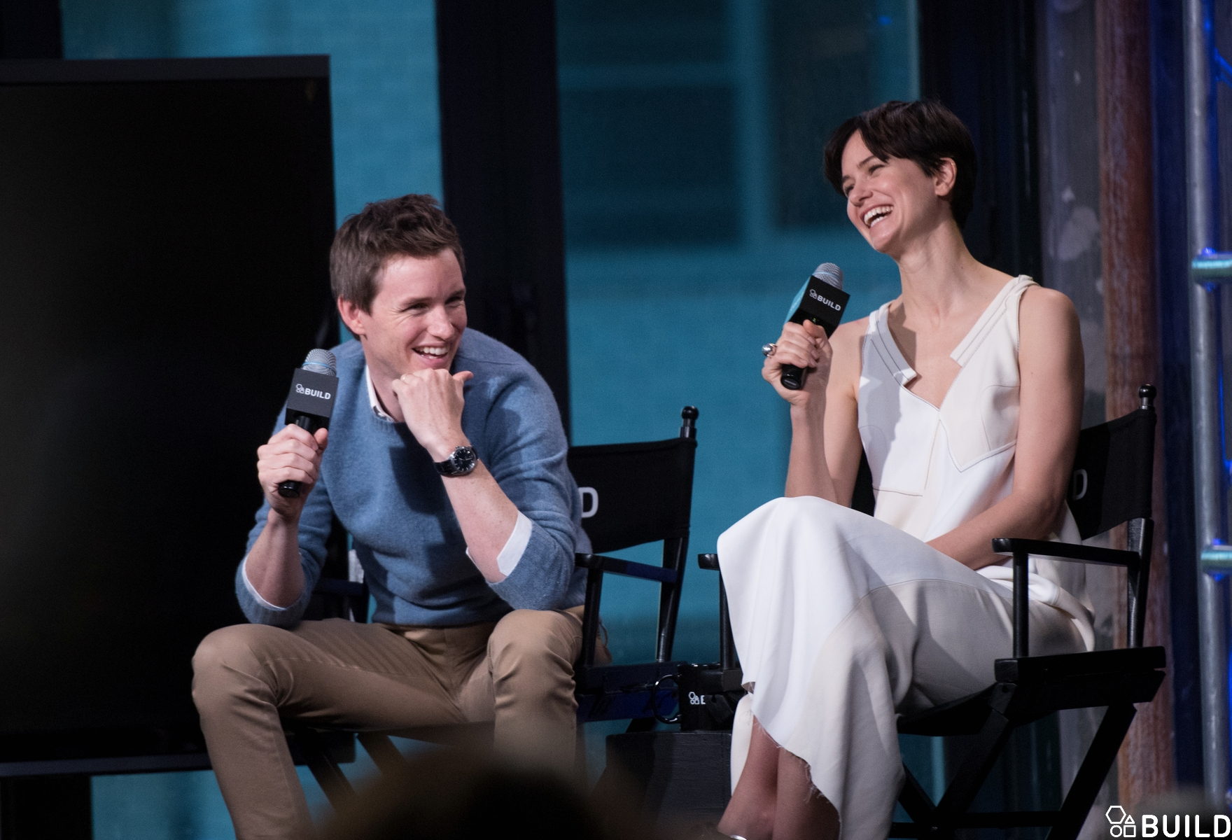 Eddie Redmayne, Katherine Waterston, Dan Fogler & Alison Sudol visits AOL Hq for Build on November 11, 2016 in New York. Photos by Noam Galai