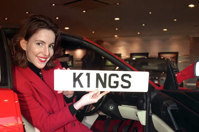 """KATHERINE HIGGINS OF CHRISTIE'S WITH THE """"K1 NGS"""" NUMBER PLATE SOLD TO AN ANONYMOUS BRITISH BUYER FOR A RECORD 203,500 POUNDS AT CHRISTIE'S IN LONDON."""