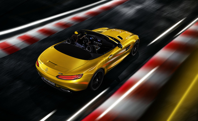 Mercedes-AMG GT S Roadster (Kraftstoffverbrauch kombiniert: 11,5 l/100 km; CO2-Emissionen kombiniert: 262 g/km); Exterieur: AMG solarbeam, AMG Carbon Paket Exterieur; Interieur: AMG Performance Sitze in Leder Exklusiv Nappa/Mikrofaser DINAMICA schwarz mit Kontrastziernaht gelb;Kraftstoffverbrauch kombiniert: 11,5 l/100 km, CO2-Emissionen kombiniert: 262 g/km*  Mercedes-AMG GT S Roadster (fuel comsumption, combined: 11.5 l/100 km; combined CO2 emissions: 262 g/km); exterior: AMG solarbeam, AMG Exterior Carbon Package; interior: AMG Performance seats in Exclusive nappa leather/DINAMICA microfibre in black with yellow contrasting topstitching;Fuel consumption combined: 11.5 l/100 km, Combined CO2 emissions: 262 g/km*
