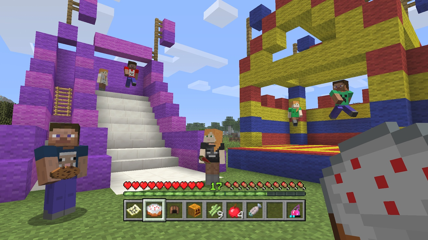 Minecraft birthday party with bouncy castles
