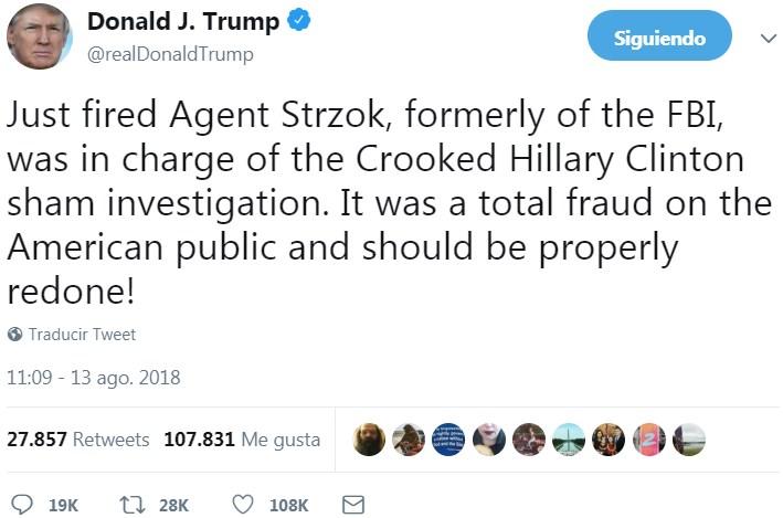 Strzok estaba a cargo de la investigación contra Hillary