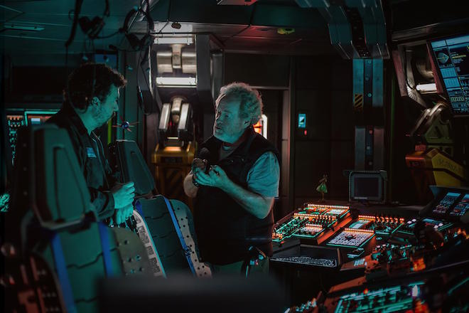 Ridley Scott with Danny McBride in ALIEN: COVENANT