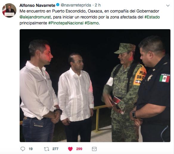 Navarrete Prida había informado que se encontraba en Oaxaca para realizar labores de revisión tras el...