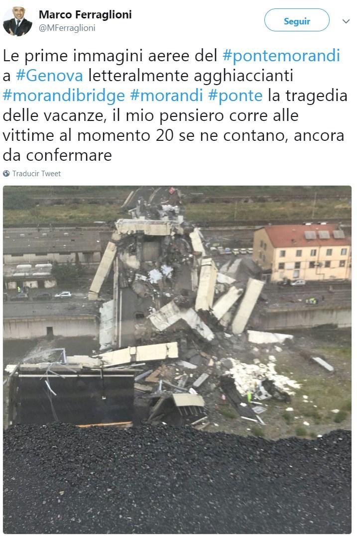 """""""Las primeras imágenes aéreas del #pontemorandi en #Genova literalmente escalofriante #morandibridge..."""