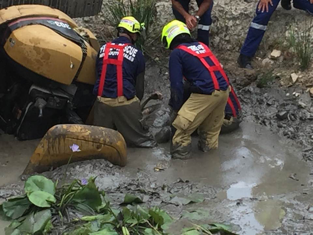 Man trapped for five hours with nose just above water