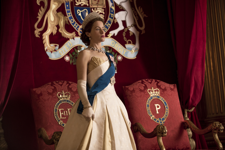 "Claire Foy as Queen Elizabeth II in ""The Crown"" season"