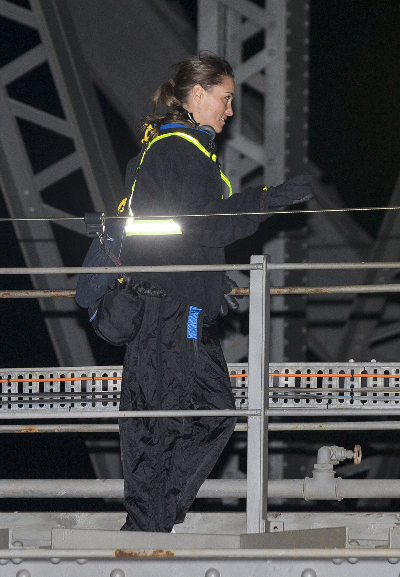 *NO MAIL ONLINE* Pippa Middleton and husband James Matthews do the Sydney Harbour Bridge Climb on their honeymoon in Australia. <P> Pictured: Pippa Middleton <B>Ref: SPL1510490  310517  </B><BR/> Picture by: Media-Mode / Splash News<BR/> </P><P> <B>Splash News and Pictures</B><BR/> Los Angeles:310-821-2666<BR/> New York:212-619-2666<BR/> London:870-934-2666<BR/> photodesk@splashnews.com<BR/> </P>