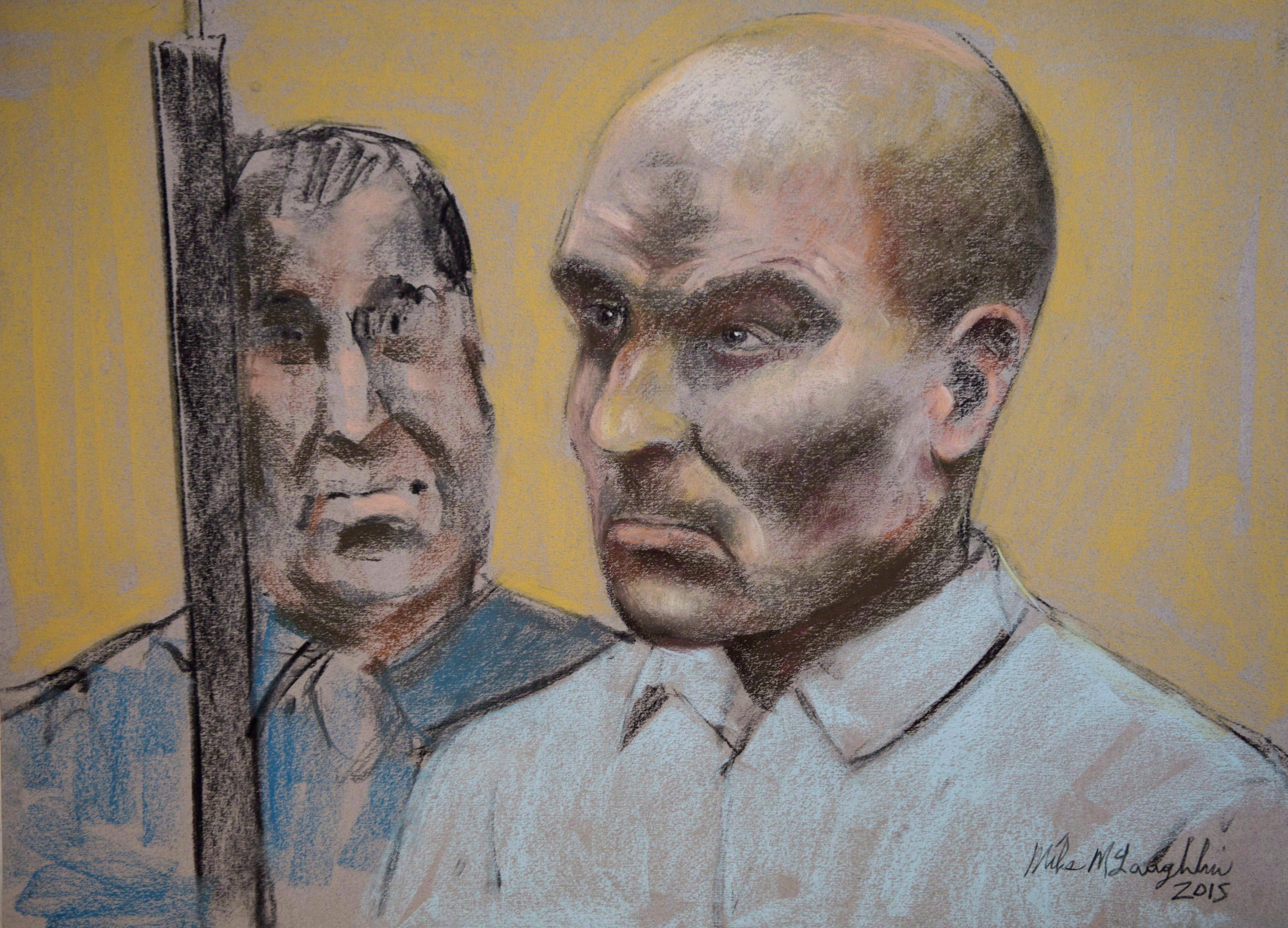 Bertrand Charest is seen on a court drawing during a bail hearing on March 16, 2015 in St-Jerome,