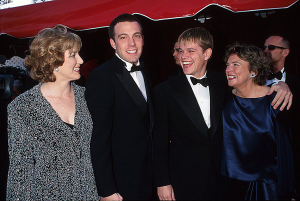 Chris Affleck, Ben Affleck, Matt Damon and mother Nancy Carlson-Paige (Photo by