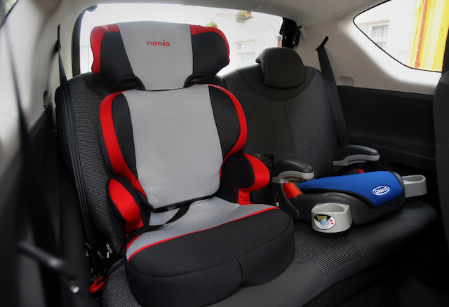Picture posed by models. Stock generic picture of a car seat in Belfast, Northern Ireland.