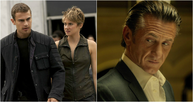 Theo James and Shailene Woodley star in Insurgent, Sean Penn in The Gunman