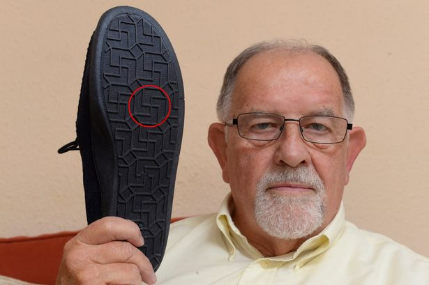 Pensioner outraged by swastika on base of slippers