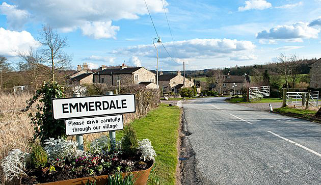 EDITORIAL USE ONLY / NO MERCHANDISING Mandatory Credit: Photo by ITV/REX/Shutterstock (3750955at) Village Exteriors - Sign 'Emmerdale' Village Exteriors - TV Programme. - 03 Mar 2014