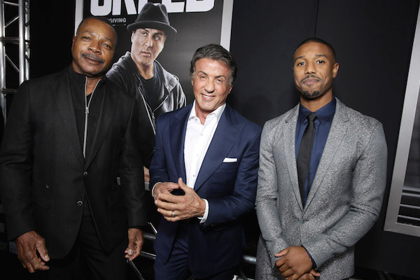 Carl Weathers, Producer Sylvester Stallone and Michael B. Jordan seen at Los Angeles World Premiere of New Line Cinema's and Metro-Goldwyn-Mayer Pictures' 'Creed' at Regency Village Theater on Thursday, November 19, 2015, in Westwood, CA. (Photo by Eric Charbonneau/Invision for Warner Bros/AP Images)