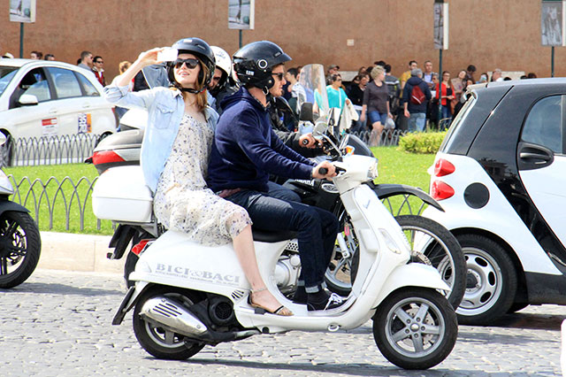 Emma Stone and Andrew Garfield enjoy romantic scooter ride in rome