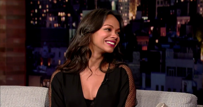 Zoe Saldana, Guardians of the Galaxy, Letterman, The Late Show, Green Makeup
