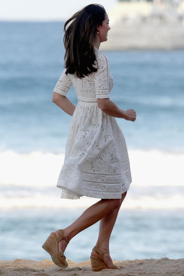 Kate Middleton running in heels