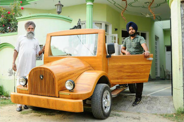 Father and son build wooden car