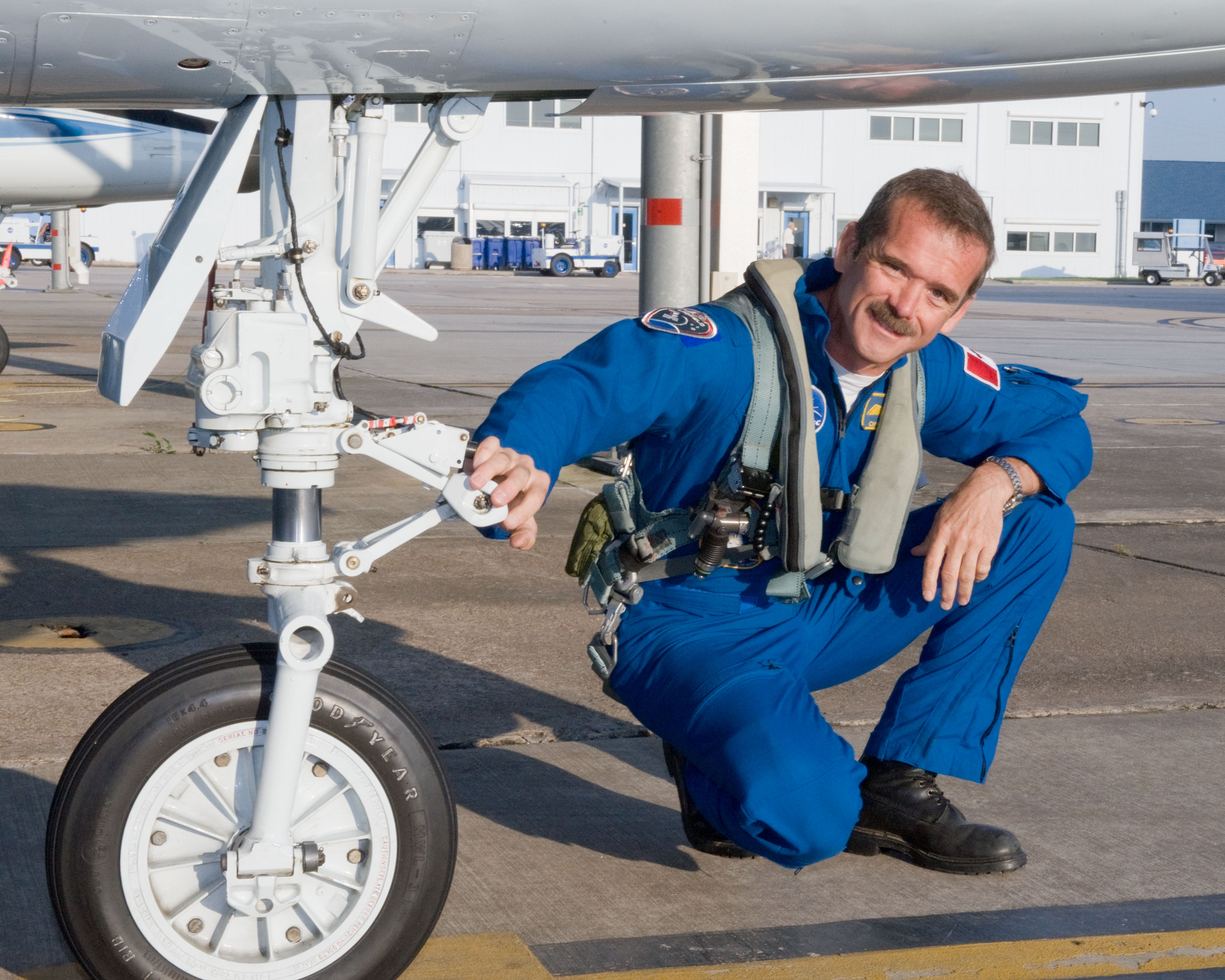 Expedition 35 (Soyuz 33S) crew member Chris Hadfield preparing for a T-38 flight.  Photo Date: May 14, 2012.  Location: Ellington Field - Hangar 276 - Tarmac.  Photographer: Robert Markowitz