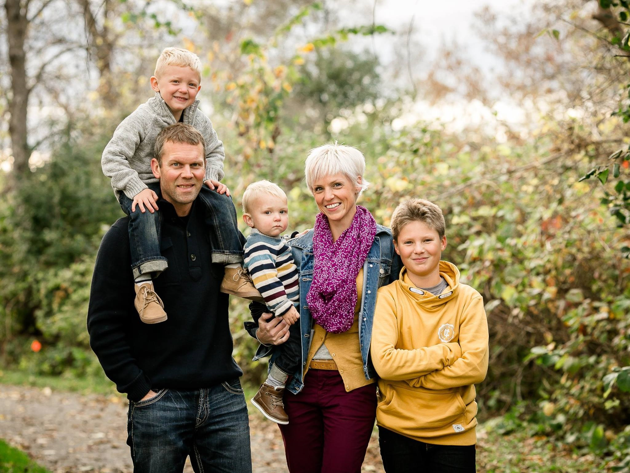 Michelle Matthieu with her husband Robin Higgins, and sons Liam (4), Henry (22 months), and Noah