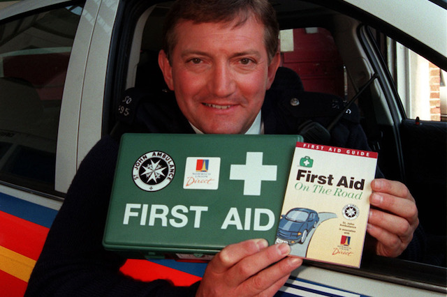 EMBARGOED UNTIL 14.00 Thursday 21st May.  Graham Cole who plays PC Stamp in The Bill and trainied as a St John Ambulance cadet helps St John Ambulance raise awareness that ignorance causes road deaths.  A new study by St John Ambulance and Norwich Union Direct demonstrates that first aid could save thousands of lives and have published a free first aid guide aimed at motorists.  They also recommend that all cars carry first aid kits and are lobbying  the government to get first aid questions included in the driving test.  Photo by Tony Harris/PA.