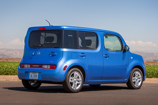 2014 Nissan Cube - blue - rear 3/4 view