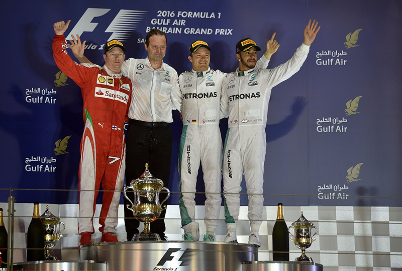 The podium at the end of the 2016 Bahrain F1 Grand Prix.