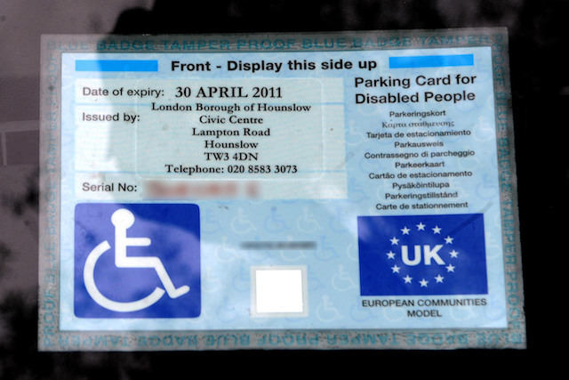 PLEASE NOTE THAT SOME DETAILS HAVE BEEN BLURRED BY THE PA PICTURE DESK.  A disabled parking badge is displayed at a Sainsburys store in London.