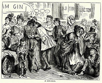 A sketch of a gin shop from Charles Dickens' book Sketches by