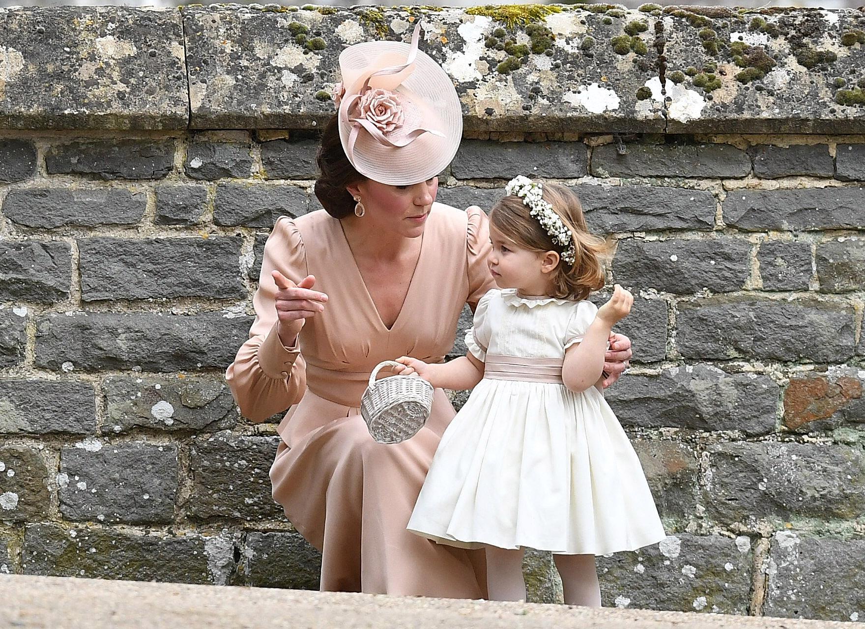 Princess Charlotte and Kate Middleton at Pippa Middleton's wedding