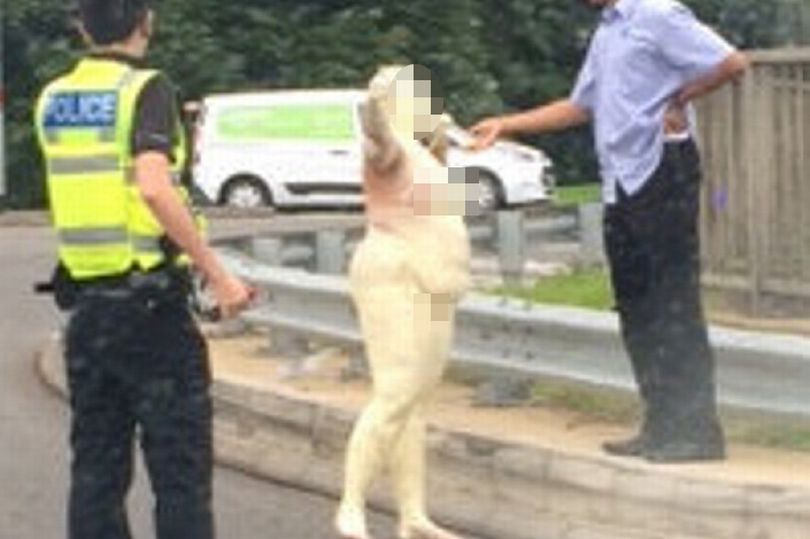 Woman covered in gold paint spotted on dual carriageway