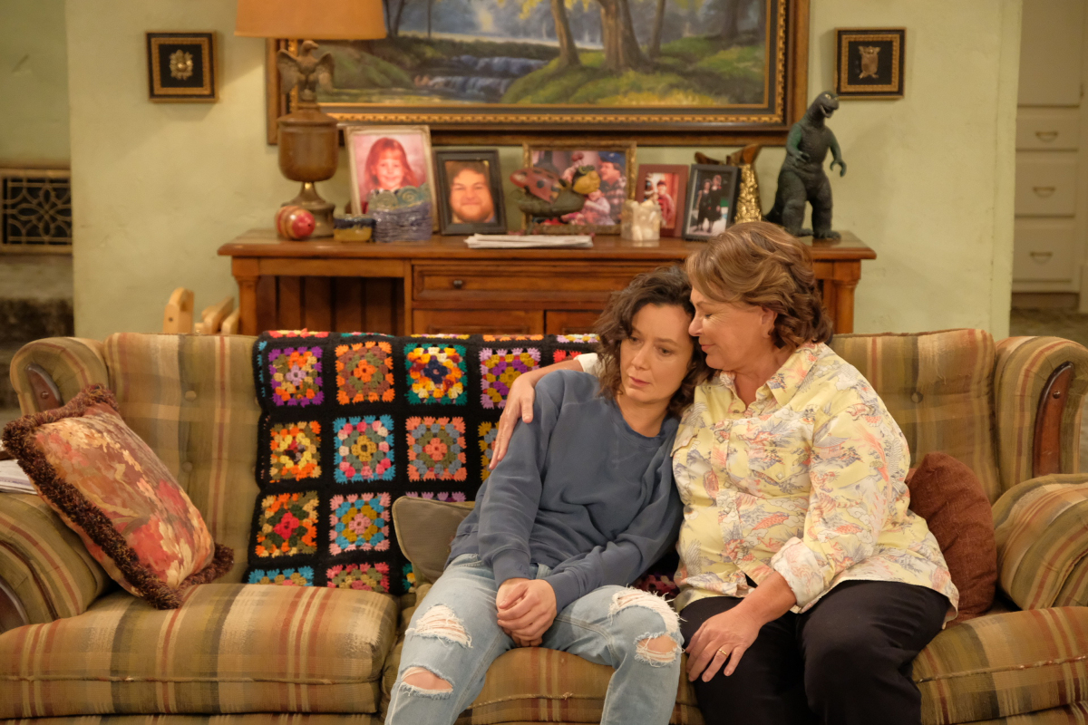 ROSEANNE - Iconic comedy series �Roseanne� returns to The ABC Television Network on Tuesday, March 27, at 8 p.m. EDT, with nine new episodes featuring the complete original cast - Roseanne Barr, John Goodman, Sara Gilbert, Laurie Metcalf, Michael Fishman and Lecy Goranson. Sarah Chalke, who played the character Becky in later seasons, will also appear in another role. New cast joining the one-of-a-kind Conner family includes Emma Kenney as Harris Conner-Healy, Ames McNamara as Mark Conner-Healy and Jayden Rey as Mary Conner. With fresh stories that tackle today�s issues and even more laughs from a brilliant cast and crew that haven�t missed a beat, audiences old and new will celebrate the homecoming of America�s favorite working-class family. (ABC/Adam Rose) SARA GILBERT, ROSEANNE BARR