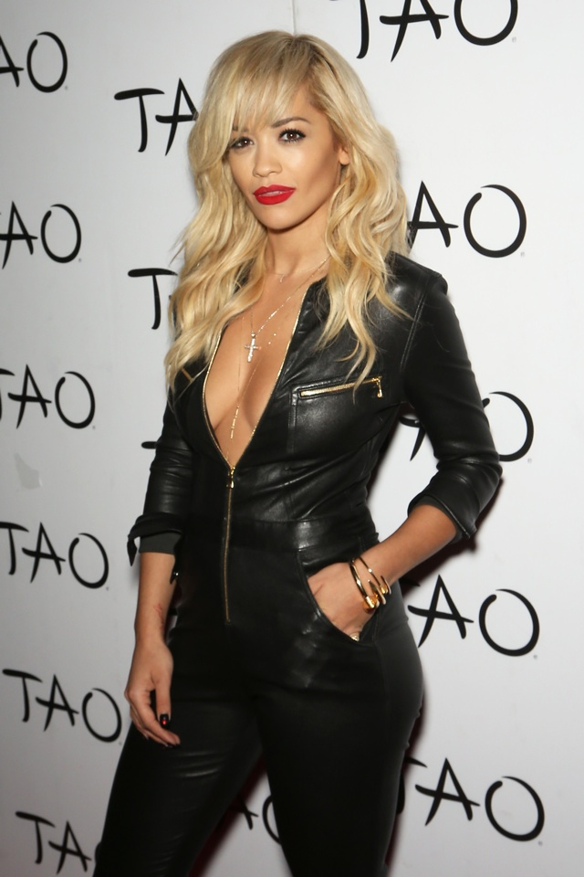 Rita Ora does leather jumpsuit for Tao Nightclub in Las Vegas