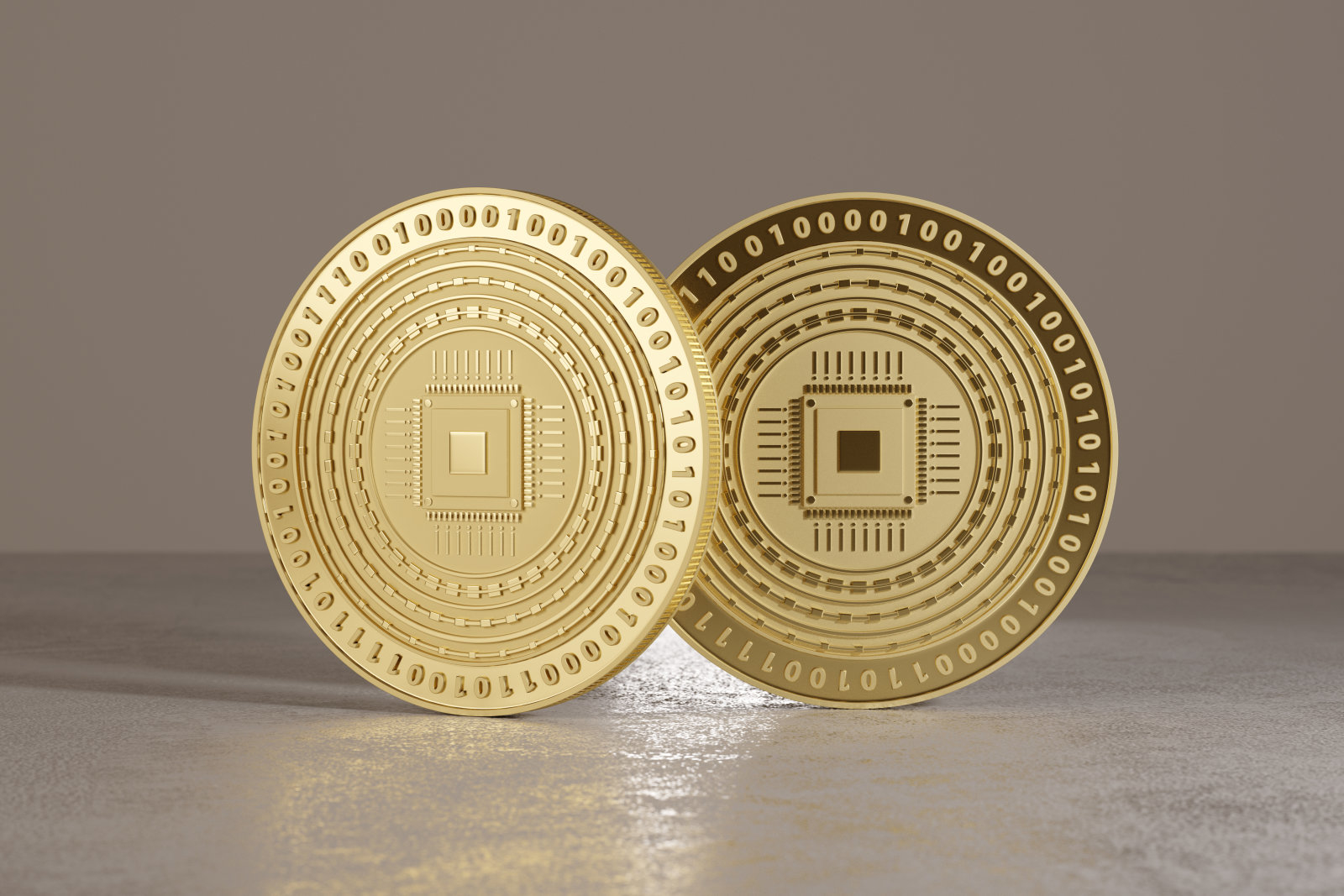 Golden coins on metal floor with cpu logo as example for bitcoin, online banking or fin-tech