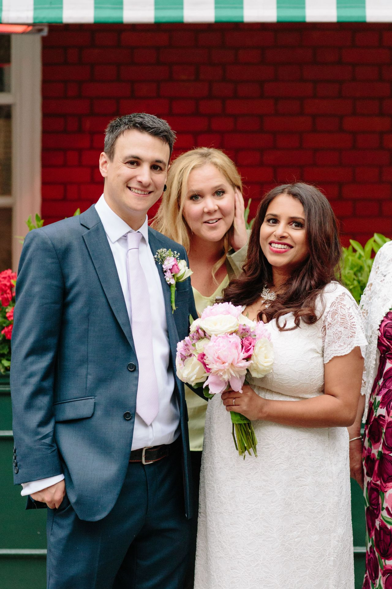 EXCLUSIVE U.S clients: web - $100, print - $250 UK clients: web - �50 per pic, print - fees to be agreed  Mandatory Credit: Photo by Christine Wehrmeier/REX/Shutterstock (8886225b) Amy Schumer photobombs Jasmin Pereira & Jon Bates wedding photos Amy Schumer photobombs wedding photos, Mayfair, London, UK - 29 Jun 2017 A couple got the shock of their lives when posing for their wedding photos in Mayfair - when none other than Amy Schumer suddenly popped up behind them! After tying the knot at Mayfair Library Jasmin Pereira & Jon Bates headed outside to get some photos. However, their day was made even more memorable by their celebrity photobomber! As Jasmin and Jon posed near to Harry's Bar they were unexpectedly joined by actress Amy who was on her way to meet designer pal Stella McCartney. After crashing their photos she also kindly allowed the couple to use her private car for further snaps